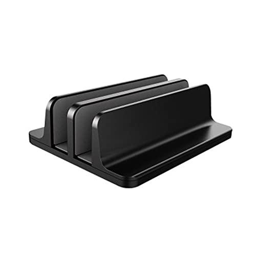 jwj Soporte para ordenador portátil con doble ranuras vertical de aleación de aluminio para tableta, libro de escritorio, suministros de computadora nottable (color: negro)