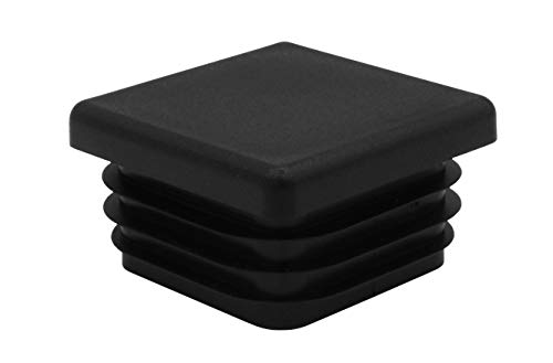 10 tappi quadrati per tubi, per tutte le misure, da 10 x 10 mm a 120 x 120 mm, per mobili, tappi di protezione, recinzione, pali, sedie, ringhiere, tappi quadrati (20 x 20 mm, nero)