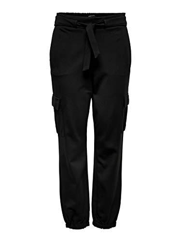 Only Onlpoptrash Cargo Belt Pant Bin Pantalones, Negro (Black Black), 40/L32 (Talla del Fabricante: Large) para Mujer