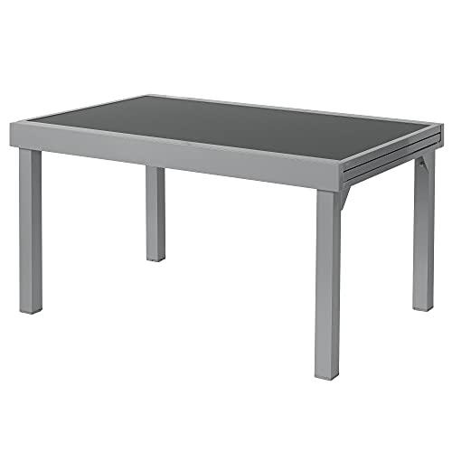 ib style® Diplomat Silber XXL Ausziehtisch 135-270 cm | Premium Gartentisch | Anti Fingerprint | Frozen Glas