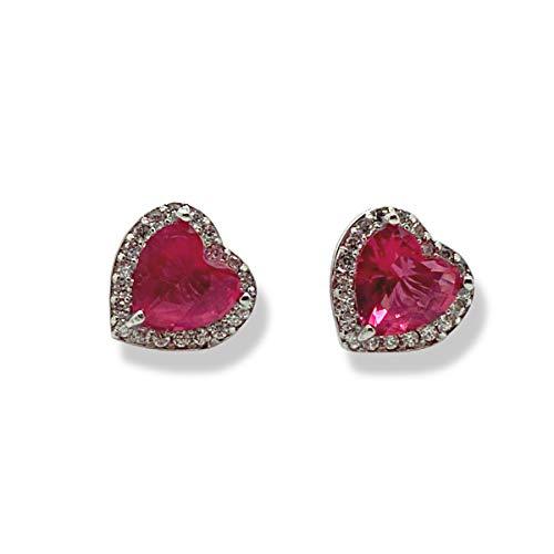 Pendientes de diamante con diseño de corazón de rubí rojo con acabado en oro blanco para mamá, esposa, hermana, novia, vienen con caja de regalo