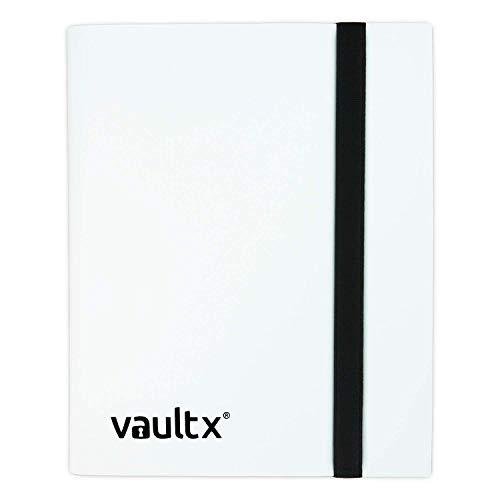 Vault X ® Sammelkarten-Album - 4 Fächer Sammelkarten Trading Cards Mappe - 160 Fächer mit Seitenöffnung für Spielkarten zum sammeln und tauschen (Weiß)