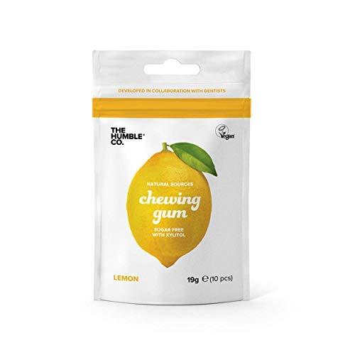 The Humble Co. Natural Chicle | Limón | Sin plástico, Biodegradable, Ecológico, Vegano, Sin Azúcar, Aprobado por el Dentista, 100% Xilitol (4 Paquetes)