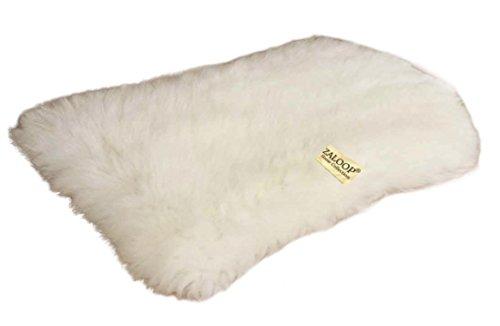 Zaloop Sitzkissen aus echtem Lammfell in versch. Farben und Größen auch medizinisch echt Fell (weiß, ca. 50 x 35 cm)