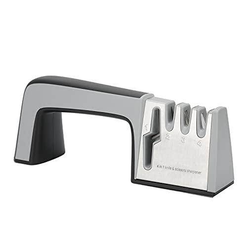 Afilador de cuchillos Afilador de cuchillas de cocina 4 en 1 Amoladora Manual Tijeras Afilador Amoladora(Plata)