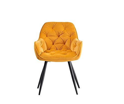 Greneric 1/2er Set Esszimmerstuhl aus Stoff (Samt) Wohnzimmerstuhl Farbauswahl Retro Design Armlehnstuhl Stuhl mit Rückenlehne Sessel Metallbeine Schwarz (Gold, 1)