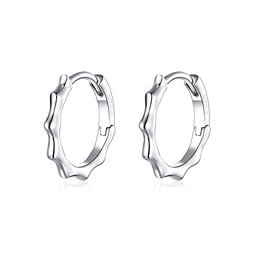 XCWXM 925 Sterling Silver Wave Line Hoop Earrings Simple Circle Big Earrings For Women Trendy Christmas/Valentine Gifts for Girls