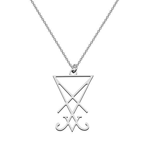 CENWA Sigil of Lucifer Pendant Satanic Symbol Stainless Steel Jewelry Seal of Satan Necklace Alchemy Symbolic Gift (Sigil of Lucifer N)