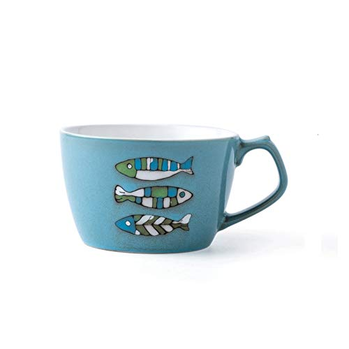 kerryshop Tazas para niños Taza de Desayuno Grande de Porcelana Adecuado para remojo de Leche/Avena 650ml Ilustración Copa Pintada a Mano Adecuada para Oficina y Familia Taza de té (Color : Blue)