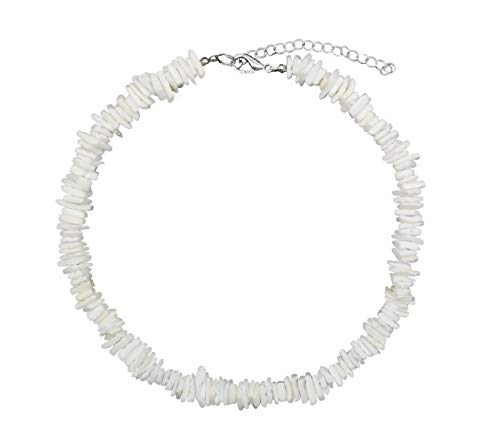 ZYIJUNY Women White Conch Clam Chips puka Shell Necklace Collar Choker with Extended Chain for Girls Men's Women Boys Native Rose Hawaiian Beach Ajustable Necklace (16)