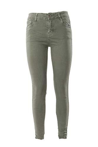 Laphilo - Pantalone Jeans Denim Donna Cinque Tasche e Fianchi Decorati con Mini Strass in Cotone Elasticizzato, Chiusura Anteriore con Bottone e Zip (cod.853) (Verde Militare, S)
