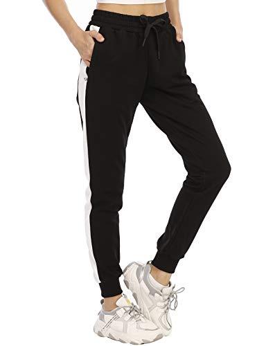 Bohuma Women's Joggers Pants Breathable Soft Cotton Sweatpants for Workout Running Pants,KZ6036W-BlackWhite-L