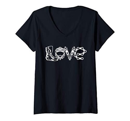 Mujer Love Motocross 2 Tiempos Brap Mx Biker Motocicleta Enduro Camiseta Cuello V
