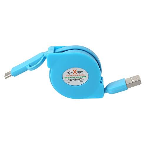 Gjyia Cable plano retráctil 2 en 1 Micro USB + Tipo C de carga de datos para teléfono Android
