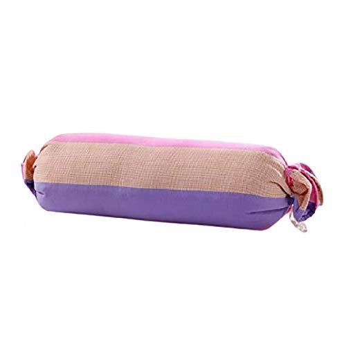 Almohada redonda larga de caramelo Alforfón Cojín multifunción Jacquard Almohada cilíndrica larga Refuerzo de yoga Calmante Protección contra la fatiga La columna cervical E,50 * 16CM