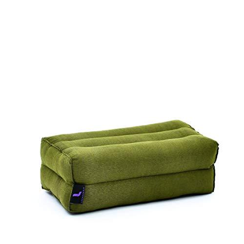 LEEWADEE Piccolo Blocco per Yoga: Cuscino da Pilates Rettangolare e Strumento da Meditazione, Cuscino da Terra in kapok Naturale, 35 x 18 x 12 cm, Verde