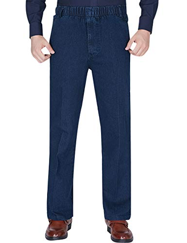 Youlee Hombres Cintura elástica Pantalones Rectos Jeans Deep Blue XXL