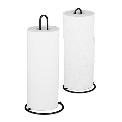 Relaxdays Küchenrollenhalter 2er Set, stehend, für Küchen- und Toilettenrollen, Metall, schlicht, HxD 32x13 cm, schwarz