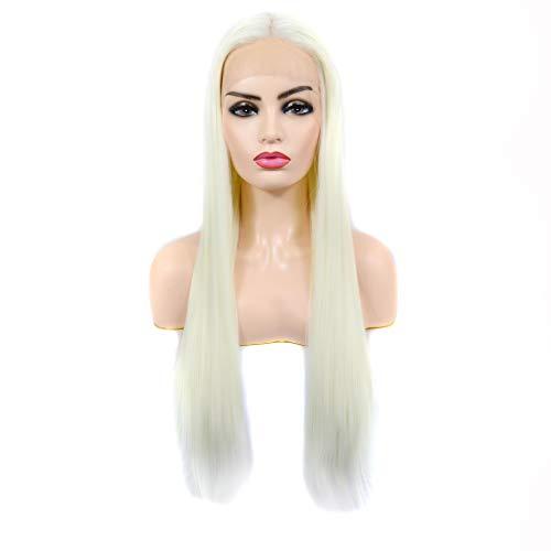 Femme Beige fibres synthétiques avant de dentelle longue ligne droite synthétique perruque cheveux bouffants