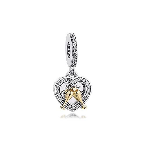 Awdijf 925 Colgante De Plata Esterlina Pandora Pulsera Dos Tonos Feliz Aniversario Dangle Charm K Gold Charms Beads Para La Fabricación De Joyas Rosario Exquisito Regalo