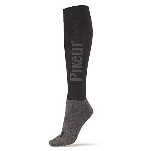 PIKEUR Reiter Socken mit PIKEUR Schriftzug, grau, 35-40