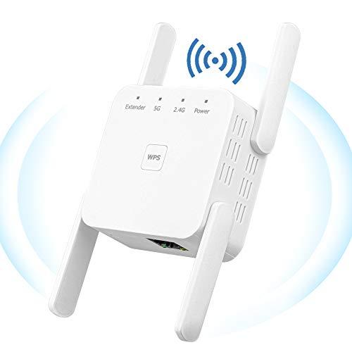 YUIN Amplificador Señal WiFi - 1200Mbps Repetidor WiFi,Amplificador WiFi 2.4 GHz/ 5Ghz,Extensor de WiFi,con Ethernet WAN/LAN, WPS, Admite Modo Ap/Repetidor,Compatible con Enrutador Inalámbrico