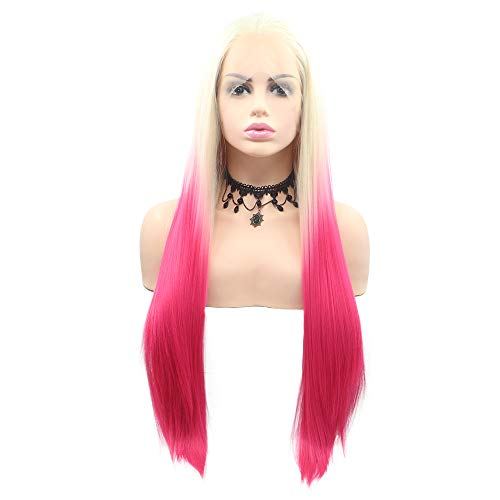 Sylvia Ombre Platinum Blonde to Pink 2 Tone Lace Front Wig 24' Red Blonde Silky Straight Natural Hairline Synthetic Wig Glueless Middle Parting Half Wig 180% Density for Woman