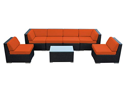 Genuine Ohana Outdoor Patio Wicker Sectional Furniture 7pc Sofa Set (Sunbrella Tuscan)