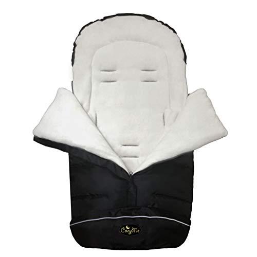 CozyMe 3 in 1 Winter Outdoor Tour Toddler Universal Stroller Sleeping Bag, Waterproof Footmuff, Length/Height/Temperature Adjustable Baby Bunting Bag, Black