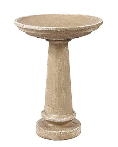 Solid Rock Stoneworks 24' Tall Round Birdbath 2pc 20in Diameter Desert Sand Color