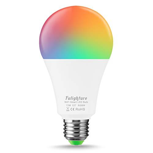 Fulighture Smart Lampe, E27 Wifi Glühbirne,RGB LED Birne,RGB + Weiß,1380 Lumen,15W Ersatz 120W,Kompatibel mit Amazon Alexa und Google Home,Fernsteuerung via App, 1 Packs [Eergieklasse A+]