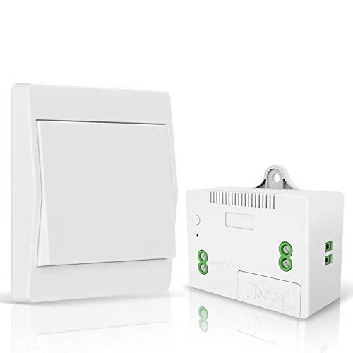 NASHONE Funkschalter Licht Set, Funk Lichtschalter Batterielose Wandschalter 200M Outdoor 50M Indoor Funkreichweite für Lampe Eletrogerät 1100W
