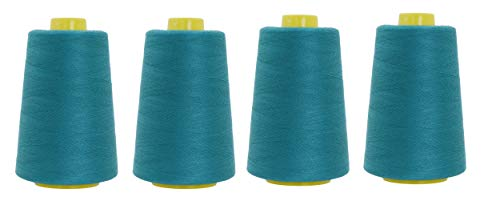 Mandala Crafts All Purpose Sewing Thread from Polyester for Serger Overlock Quilting Sewing Machine Pack of 4 40S/2 Teal