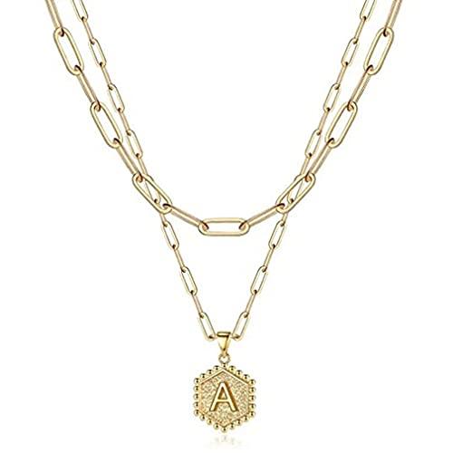 SeniorMar-UK Colgante de Letra Hexagonal Collar Exquisito y Duradero Clip de Papel Chapado en Oro de 14 Quilates Collar de Cadena de Varias Capas Dorado 45,72 cm + 5,08 cm, 35,56 cm +