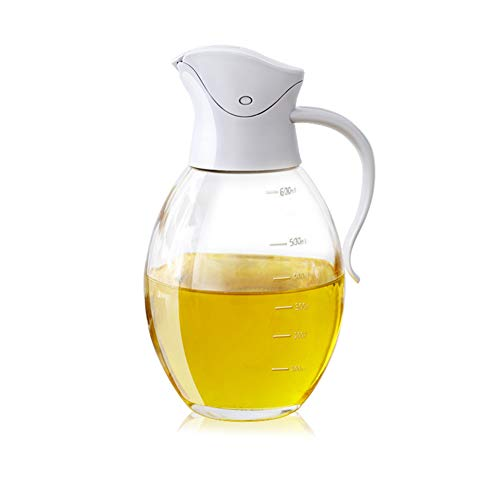 Olla de aceite de vidrio de apertura automática a prueba de fugas de 600 ml con mango antideslizante, utilizando el principio de palanca, resistente a altas temperaturas, adecuado para familias