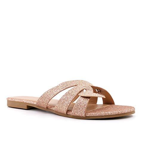 Angkorly - Damen Schuhe Schuh-Mule Sandalen - glamourös - orientalisch - Step - Strass Glitz - gekreuzte Riemen - Glänzende Blockabsatz 1 cm - Champagner FB-181 T 37