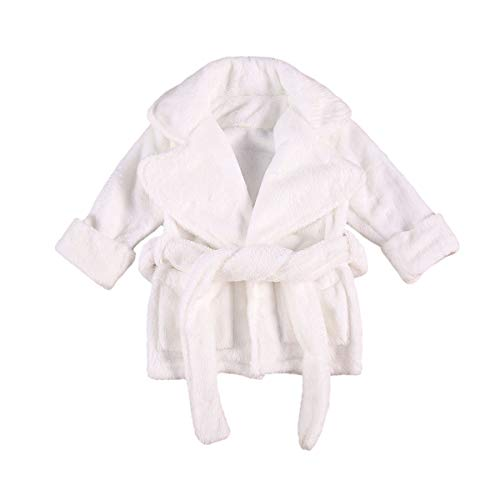 Flanell-Bademantel für Babys, Mädchen, weich, einfarbig, aus Fleece, Schlafanzug,...