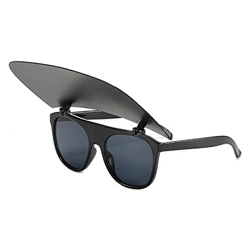 WANGZX Gafas De Sol Cuadradas Grandes Retro con Tapa, Moda para Mujer, Sombrilla Al Aire Libre, Gafas Uv400, Gafas De Sol con Tapa Plana para Hombre, Negro Gris