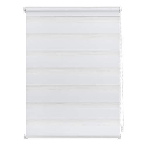 Lichtblick Doppelrollo Haftfix, 45 x 150 cm (B x L) in Weiß, ohne Bohren, moderner Sicht-, Blend- und Sonnenschutz, Duo Rollo, lichtdurchlässig & Blickdicht