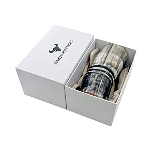 SUXIAO Taza de Cuerno de Buey Taza vikinga Jarra de Cuerno para Beber Cerveza Beber Vino, con Caja de Regalo, 350-440 ml
