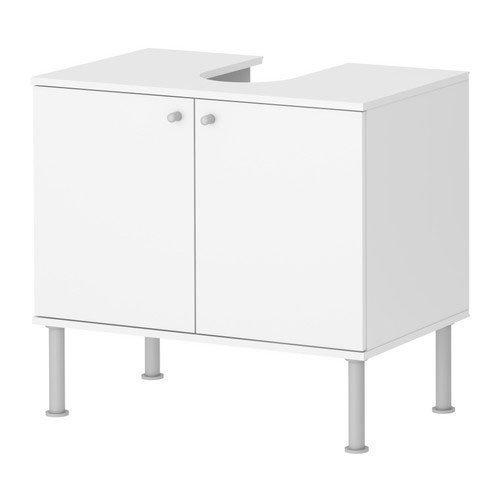 2 XIKEA Waschbeckenunterschrank 'Fullen' Waschbeckenschrank zweitürig in 60x35x55cm (BxTxH) - WEISS