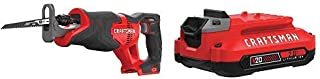 CRAFTSMAN V20 Reciprocating Saw with Lithium Ion Battery, 2.0-Amp Hour, Charger Sold Separately (CMCS300B & CMCB202)
