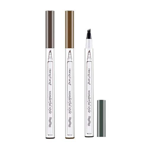 B Blesiya - 3 lápices de tatuaje para cejas, con 4 puntas, de larga duración, resistentes al agua, para maquillaje de ojos