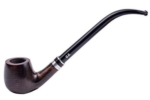 Pipa de Fumar de Madera del Tabaco Churchwarden, tallada a mano, filtro de enfriamiento de metal, viene con bolsa, en caja (Hobbit)