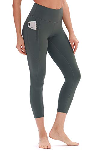 icyzone Damen Hohe Taille Sport Leggings Yoga Pants Sport Hose Jogginghose mit Tasche (S, Dunkelgrün)