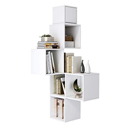 Homfa Wandregal Cube Regal 5er Set Wandschrank Eckregal Würfelregal Bücherregal Hängeregal Weiß 24x24x24cm 64.7x30x33cm 30x30x30cm
