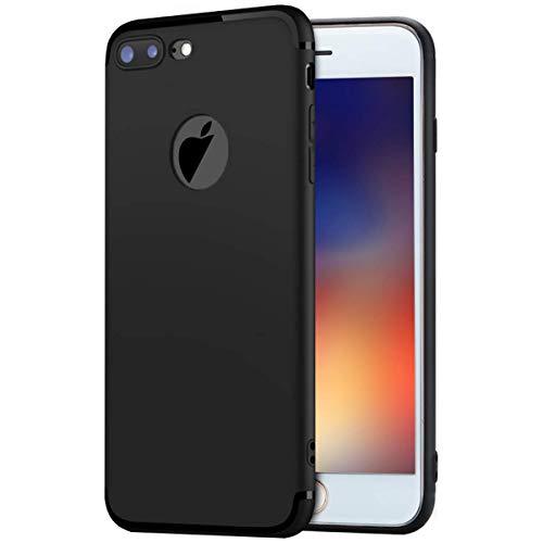 MADIBA Hülle kompatibel mit iPhone 8 Plus iPhone 7 Plus Schwarz Silikon Hülle Black Design (Ultra Dünn), Federleicht Bumper Cover