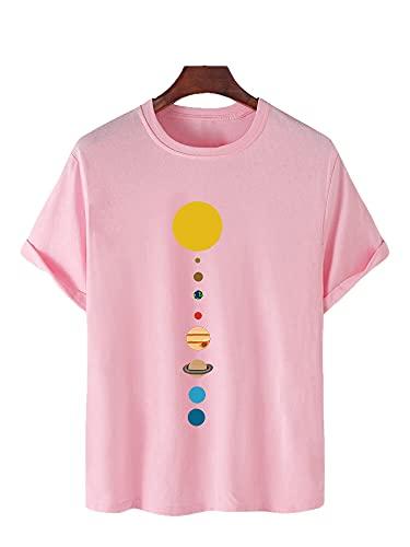 Shirt Hombre Transpirable Cuello Redondo Estampado Hombre Ocio Shirt Verano Básico Holgado Manga Corta Streetwear Personalidad Moderna Urbana Hombre T-Shirt G-Pink L