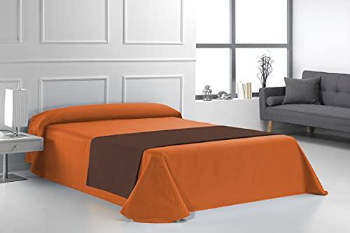 SABANALIA - Colcha de Loneta Marta (Disponible en Varios tamaños), Cama 135-230 x 280, Naranja