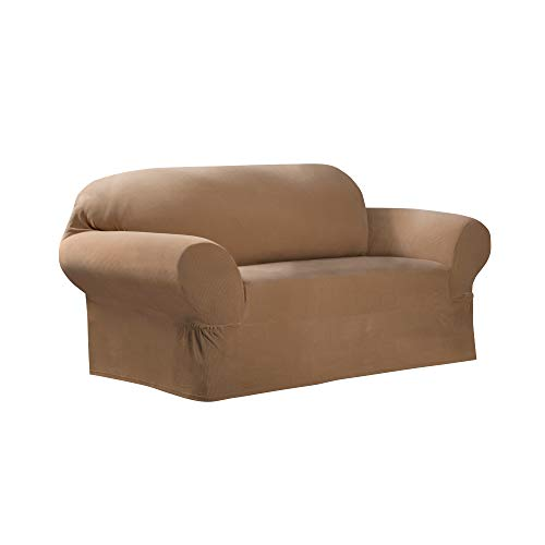 Maytex Collin Stretch 1-Piece Loveseat Furniture Cover / Slipcover, Gold